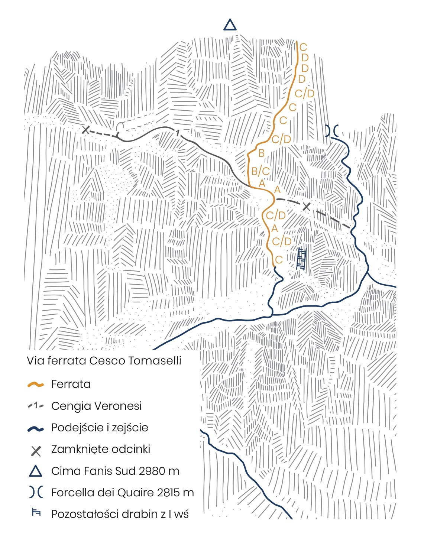 Via ferrata Cesco Tomaselli MAPA, TOPO - Passo Falzarego - FANES - DOLOMITY NA FERRATACH - PRZEWODNIK